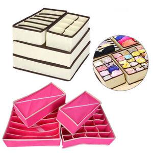 Underwear-Organizer-Bra-Socks-Ties-Drawer-Storage-Boxes-Closet-Divider-Office-US