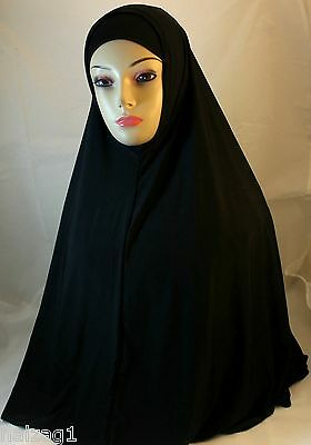 "NEW ""Long"" Two Piece Hijab Amira Muslima Hejab Headscarf Plain Color - Black"