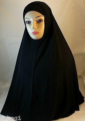 "NEW ""Long"" Two Piece Hijab Amira Muslima Hejab Headscarf Plain Color - Black"