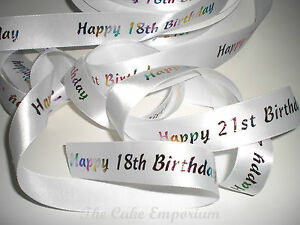 Details about 18TH & 21ST BIRTHDAY AGE RIBBON CAKE TOPPER OR GIFT WRAP