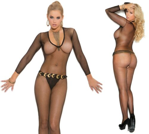 Deep V Black Fishnet Body Stocking W//Open Crotch Full Body Tights Fat Suit