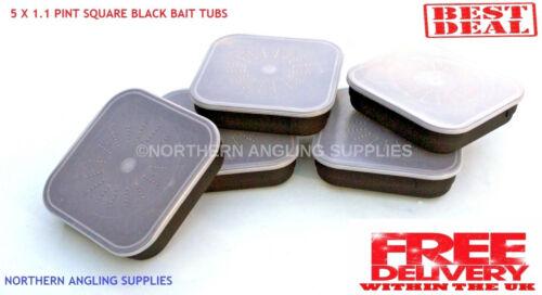 maïs viande etc 5 x 1.1 PT standard pêche carré boîtes d/'appâts pour Asticots