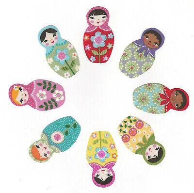 Lot de 8 Patch tissu thermocollant Poupée Russe Russian doll Matriochka LOT2