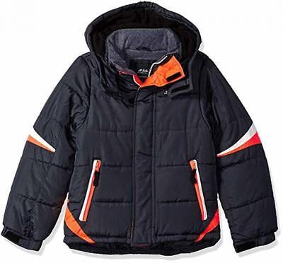 London Fog Boys Navy /& Orange Puffer Jacket Size 4 5//6 7