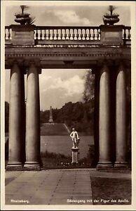 RHEINSBERG-AK-um-1940-Saeulen-Gebaeude-Saeulengang-Apollo-Figur-im-Schloss-Park