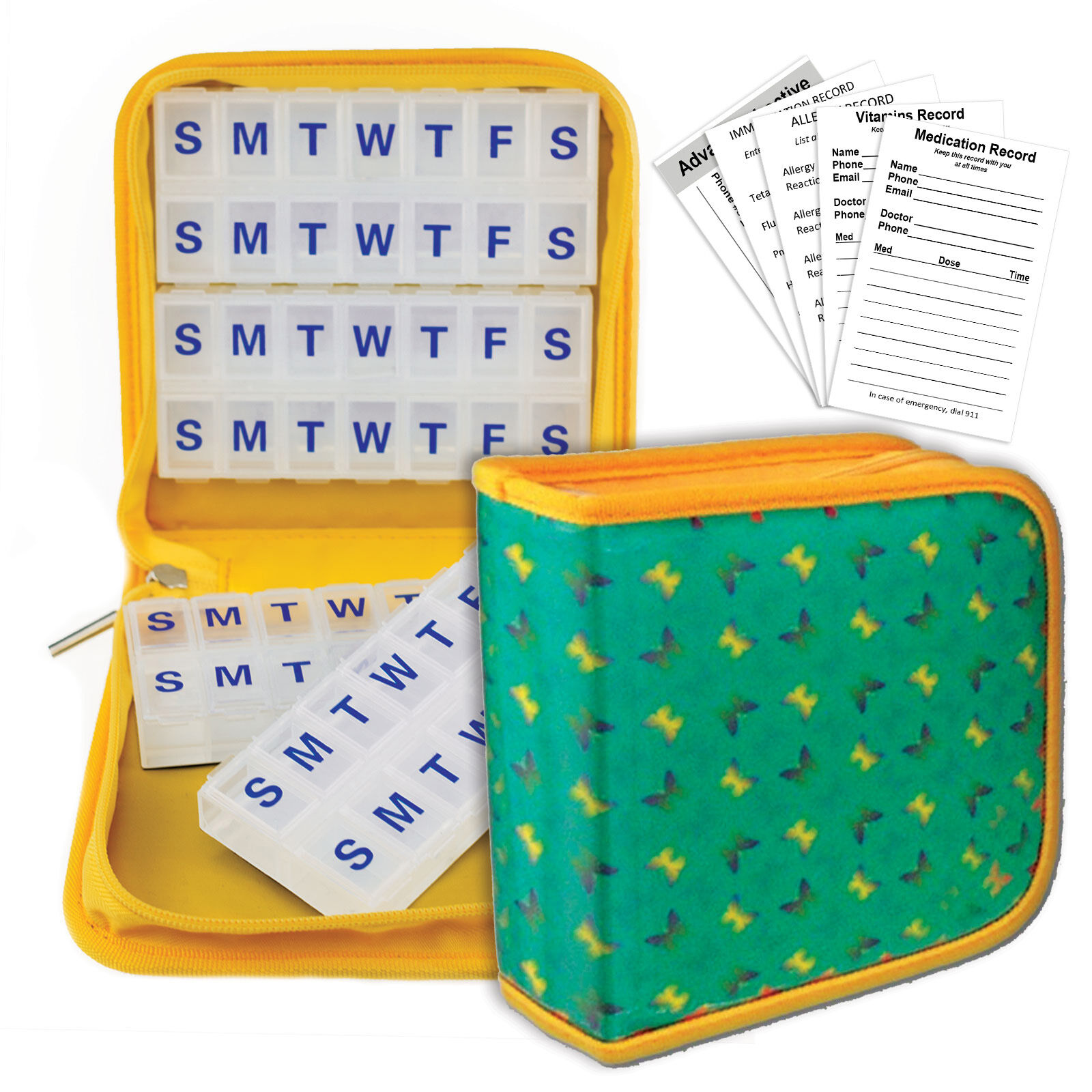 Green Butterflies Pill Organizer Yellow Case