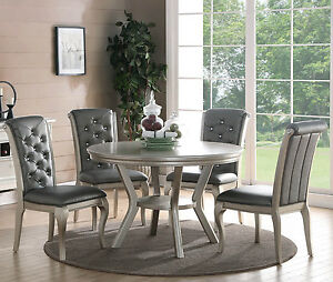 ... ZEYNA 5PC ROUND PLATINUM SILVER FINISH WOOD DINING  Part 88