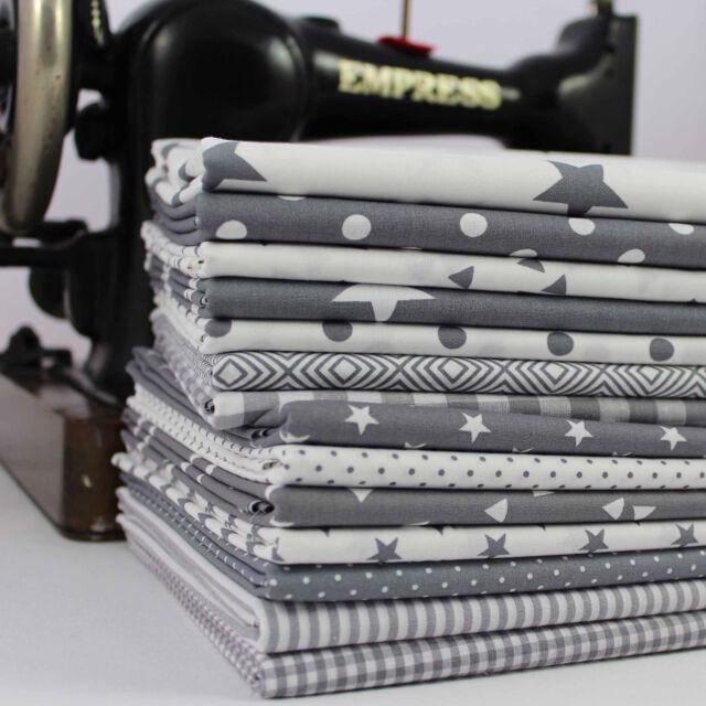 GREY CLASSICS 100% Cotton Fabric per metre 145cm wide stars dots stripes