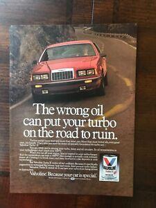 1985 vintage original original ad Valvoline Turbo Y Motor Oil