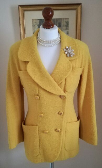 Authentic CHANEL Boutique Vintage Yellow Boucle Jacket Blazer FR36 UK8 Stunning!
