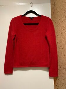 Alfani-Women-Red-Cashmere-Pullover-Sweater-M