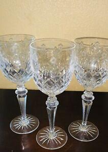 3-Signed-Rogaska-Crystal-Stem-Cut-Floral-Design-Wine-Goblets-Glasses-RGS-23