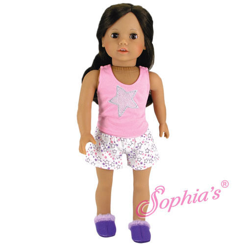 "Glitter Star Tank /& Print Shorts Pajamas Fits American Girl Dolls 18/"" Dolls"