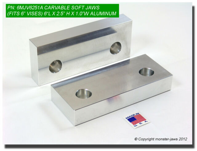 "6 x 2.5 x 1"" Standard Aluminum Machinable Soft Jaws for 6"" Vises USA (6MJV6251A)"