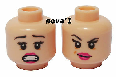 LEGO FEMALE  GIRL FLESH  PINK LIPS  DUEL SIDED HEAD  FOR MINIFIGURE