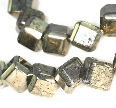 """8MM PALAZZO IRON PYRITE GEMSTONE WIDE FACETED ROUND 8MM LOOSE BEADS 7.5/"""""""