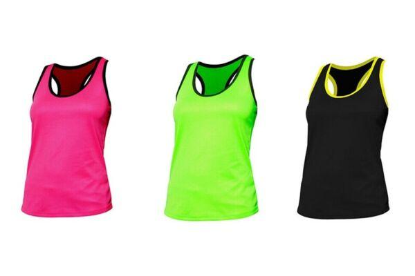 NATH Damen Sport T-Shirt Ärmellos Tank Top Trägershirt Zweifarbig S-XL BEAT NEU