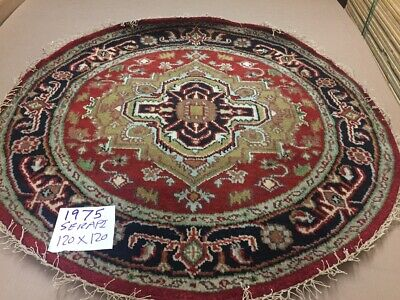 Hand Knotted NEW WOOL Round Heriz Serapi 4X4 Indian Area Rug Oriental RED//BLU