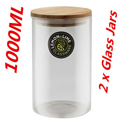 1000ML Food Storage Jar 1L Glass Jars Canister Container Wooden Lid Tube Tubs