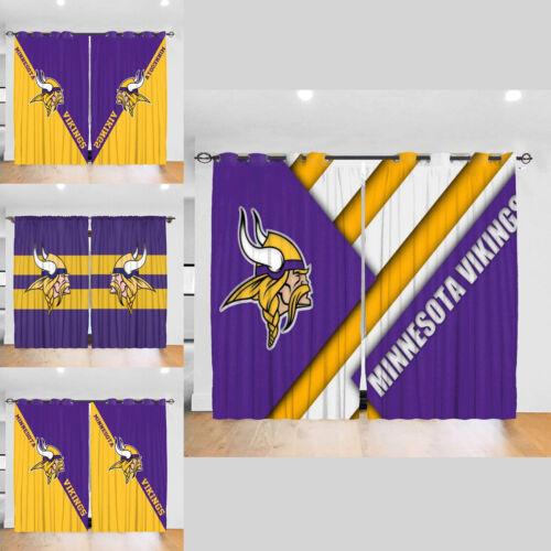 Minnesota Vikings 2PC Blackout Curtain Panels Bedroom Living Room Window Drapes