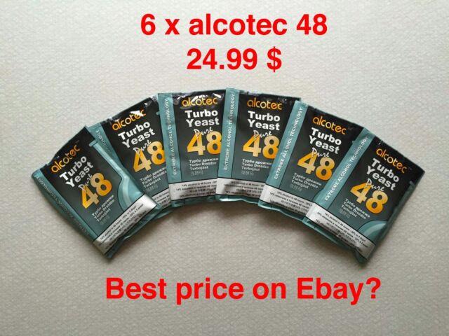Six (6) Pack of Alcotec 48 Hour Turbo Super Yeast High Alcohol Distiller Ferment