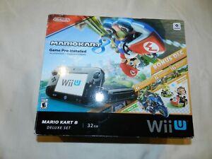 Mario-Kart-8-Nintendo-Wii-U-Deluxe-32GB-Black-Console-System-COMPLETE-in-Box