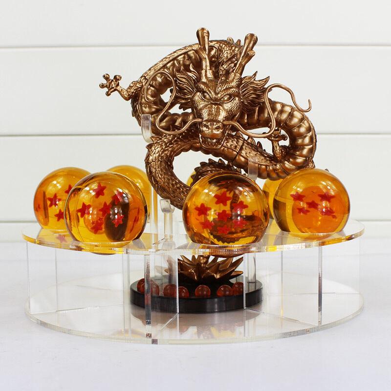 DRAGON BALL/SET DRAGON SHENRON+ 7 BOLAS 3,5 CM+ESTANTE( GOLD & Grün) IN BOX