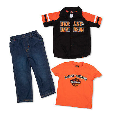 Denim Trousers And An Orange//White Shirt Harley Davidson Infant /& Baby Suit