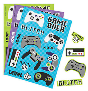 Pack of 12 - Gamer Sticker Sheets - Game Party Bag Fillers
