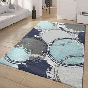Das Bild Wird Geladen Kurzflor Wohnzimmer Teppich Blau Grau Weiss  Kreise Ausgefallene