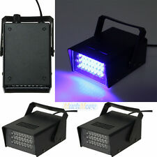 2x Mini DJ Strobe Flash Light 24 LED Bulb Club Stage Lighting Party Disco Blue