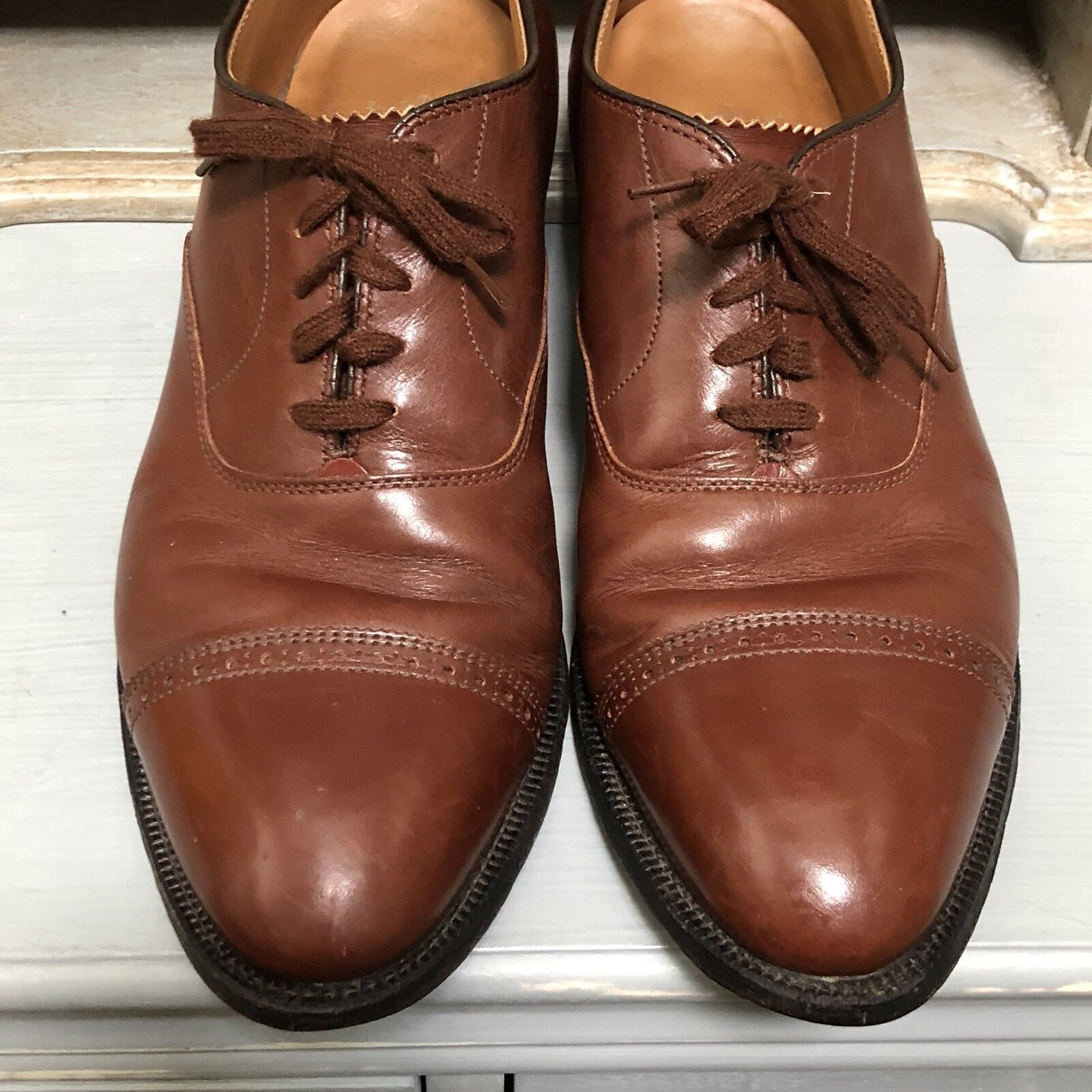 Alden 900 Balmoral Oxford shoes Brown Calfskin Perforated Straight Tip 10 AA B