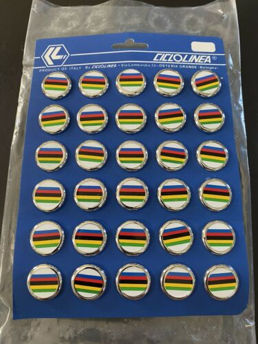 Vintage NOS Ciclolinea UCI World Champion Stripe Bar End Plugs Olympics