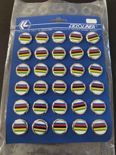 Vintage NOS Ciclolinea UCI World Champion Stripe Bar End Plugs Olympics