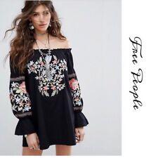c6272b5f54e3c Brand New FREE PEOPLE Fleur Du Jour Black Cotton Floral Shift Dress Size  XSmall