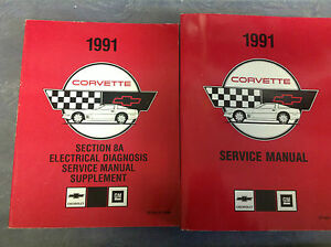 Chevrolet-1991-Chevy-Corvette-Taller-De-Servicio-Reparacion-Manual-Set-W-cableado-de-fabrica-GM