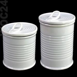 Porzellan-Kaffeedose-Vorratsdose-Zuckerdose-Blechdose-Gewuerzdose-Weiss-Deckel