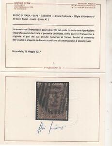 1879 Umberto I 30 C. Us Splendido Certificato Bifani