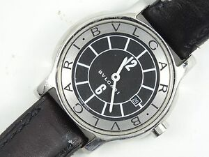 new product 7ddfe a1b24 Details about BVLGARI SOLOTEMPO BLACK DIAL / STRAP LADIES WATCH ST29S *  GOOD WORKING
