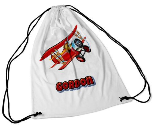 Personalised Drawstring Bag Any Name Plane Design Swimming School Nursery PE