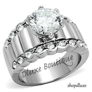 3-25-CT-ROUND-CUT-CZ-STAINLESS-STEEL-WIDE-BAND-ENGAGEMENT-RING-WOMEN-039-S-SIZE-5-10