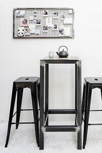 table haute industrielle mange debout en acier brut ebay. Black Bedroom Furniture Sets. Home Design Ideas