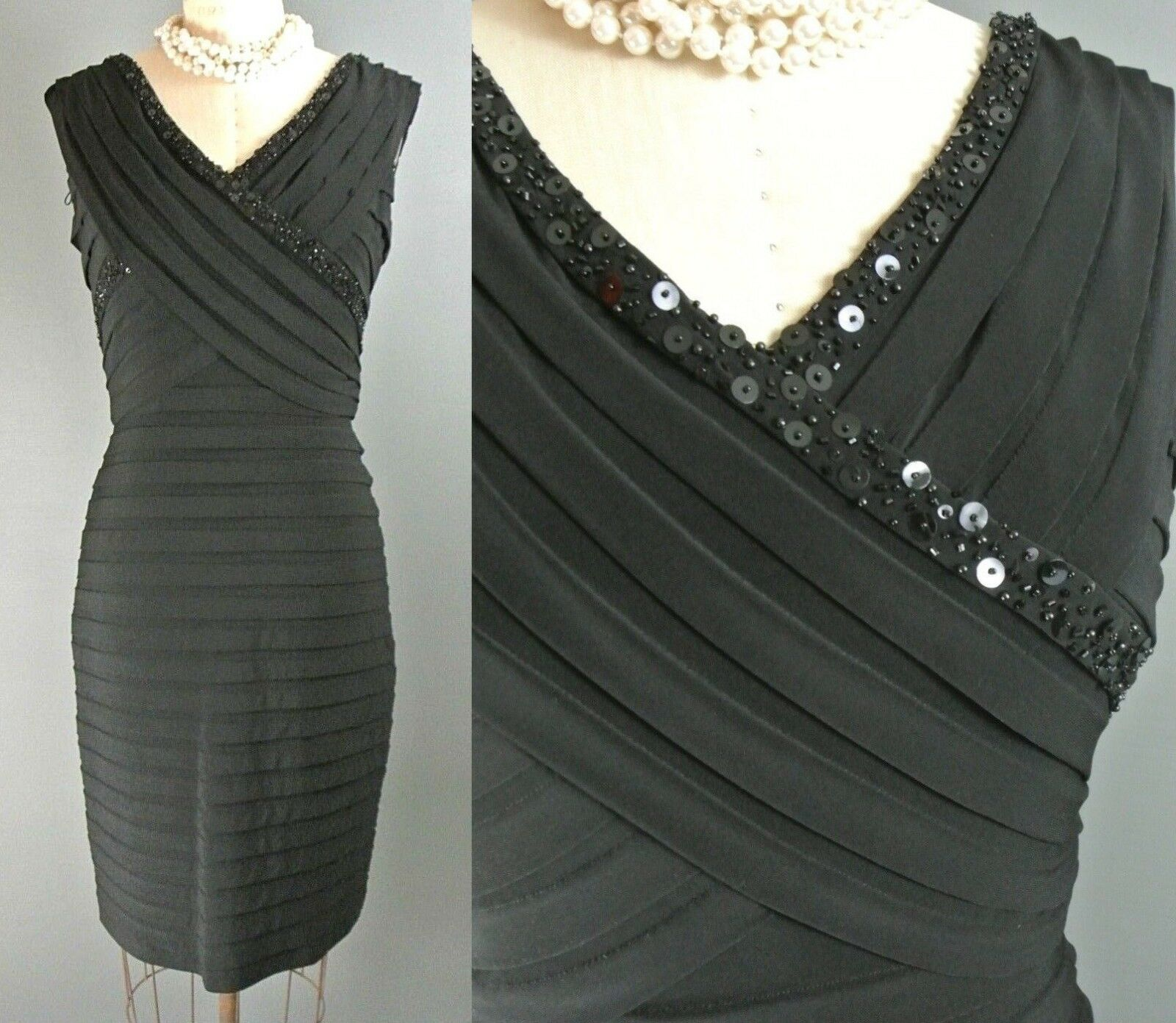Adrianna Papell Cocktail Dress 12 schwarz Sleeveless Knee Length Formal Beaded1008