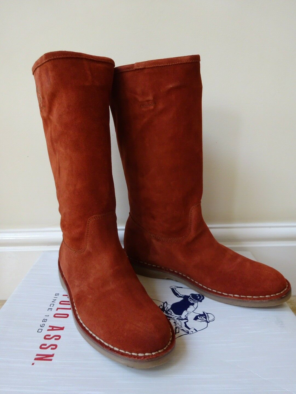 Señoras U.s Polo Assn. de de de la rodilla botas altas Quemado Naranja Talla UK 5 EUR38   Nuevo  entrega rápida