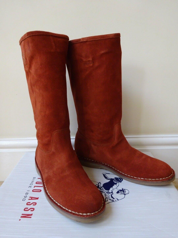 Señoras U.s Polo Assn. de de de la rodilla botas altas Quemado Naranja Talla UK 5 EUR38   Nuevo  garantizado