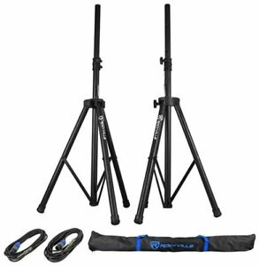 Pair-of-Rockville-Tripod-Speaker-Lighting-Stands-2-20-Foot-1-4-SpeakOn-Cables