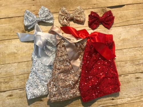 Girls Red Sequin Shorts With Matching Now Size 1-2 New boutique Style Sparkle