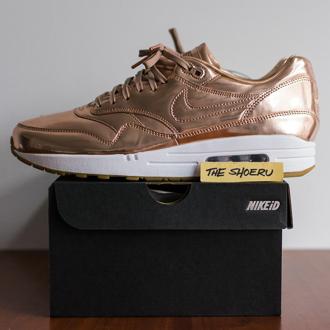 Nike Air Max 1 ID Liquid Metal Bronze/Rose Gold Size US 11 1 97 wotherspoon MINT