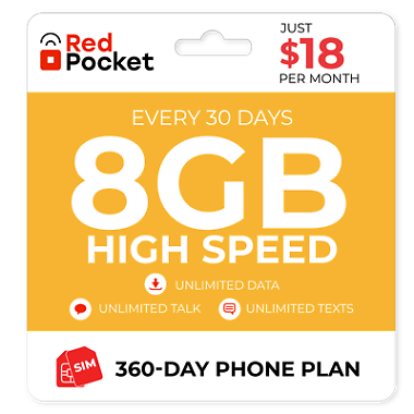 360-Day Red Pocket Prepaid Plan: Unlimited Talk & Text + 8GB LTE / Month