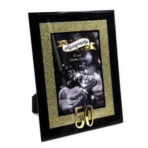 2e24c0e294f 50th BIRTHDAY GOLD GLITTER GLASS PHOTO FRAME 4